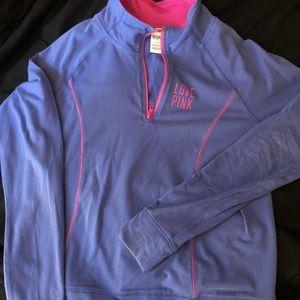 Pink pullover 3 quarter Zip up